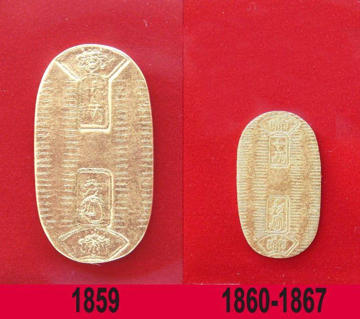 Намаляването на размера на златната монета кобан от 1860 година. Източник: Уикипедия
